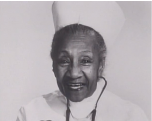 Alberta Hunter in her nurse uniform at Goldwater Memorial Hospital before her retirement in 1977